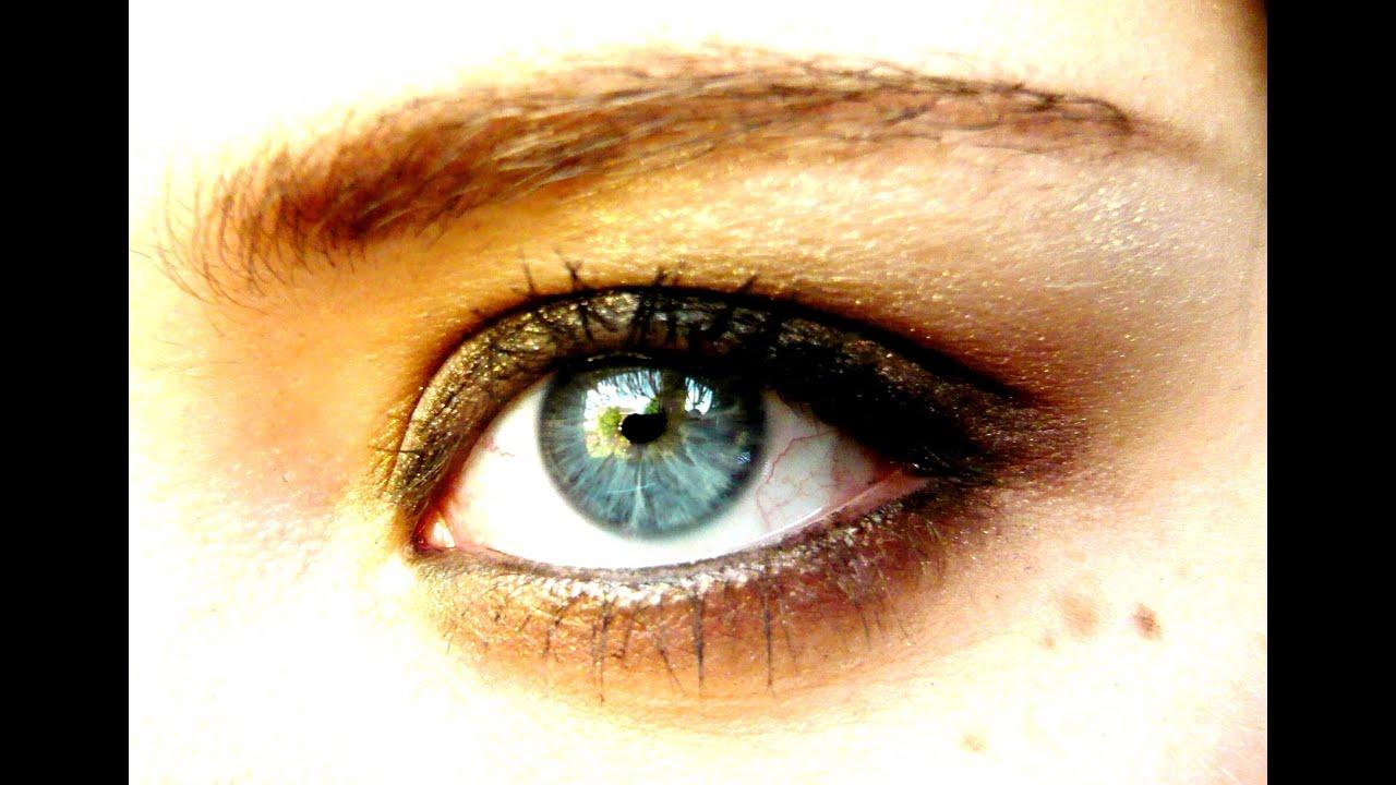 Summer natural gold bronze eye-make up tutorial - YouTube