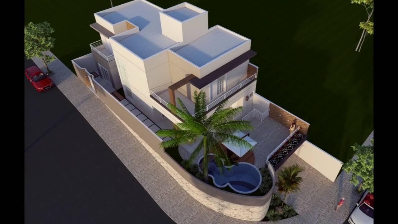 Projeto casa moderna sobrado esquina alto padr o em for Casa moderna 8x20