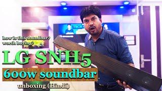 LG SNH5 DTS Virtual:X and AI Sound Pro 600 W Bluetooth Soundbar  unboxing