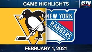 NHL Game Highlights   Penguins vs. Rangers - Feb. 01, 2021