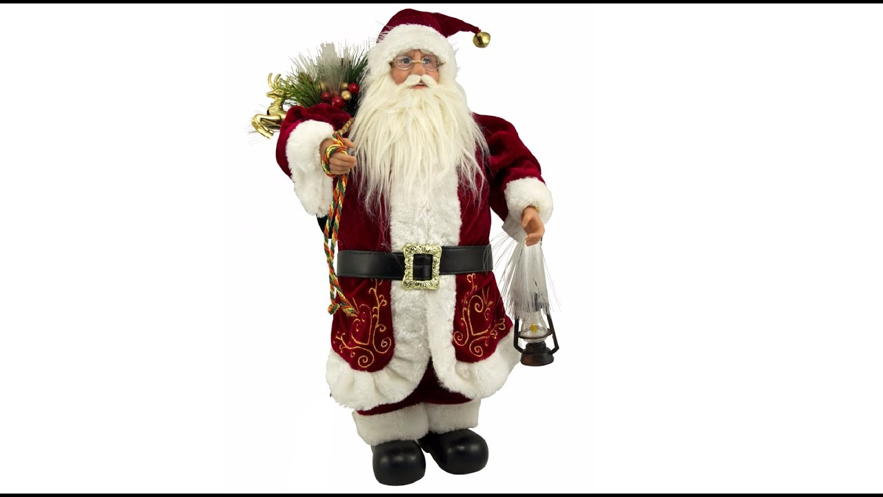 Traditional Santa With Lantern & Sack Fibre Optic ...