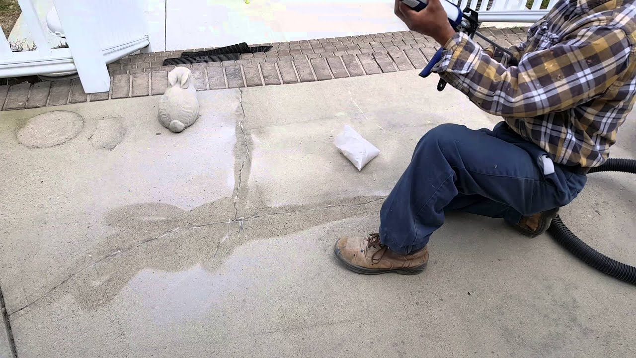 How To Repair Cracks In Concrete Patio And Deck.   YouTube