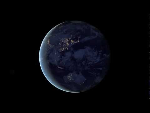 The Earth spins at night