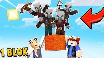 NAJAZD ILLAGERÓW NA NASZ JEDEN BLOK w Minecraft   Vito i Bella