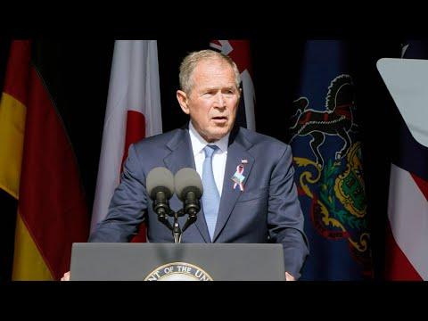 Former president George Bush speaks at 9/11 memorial