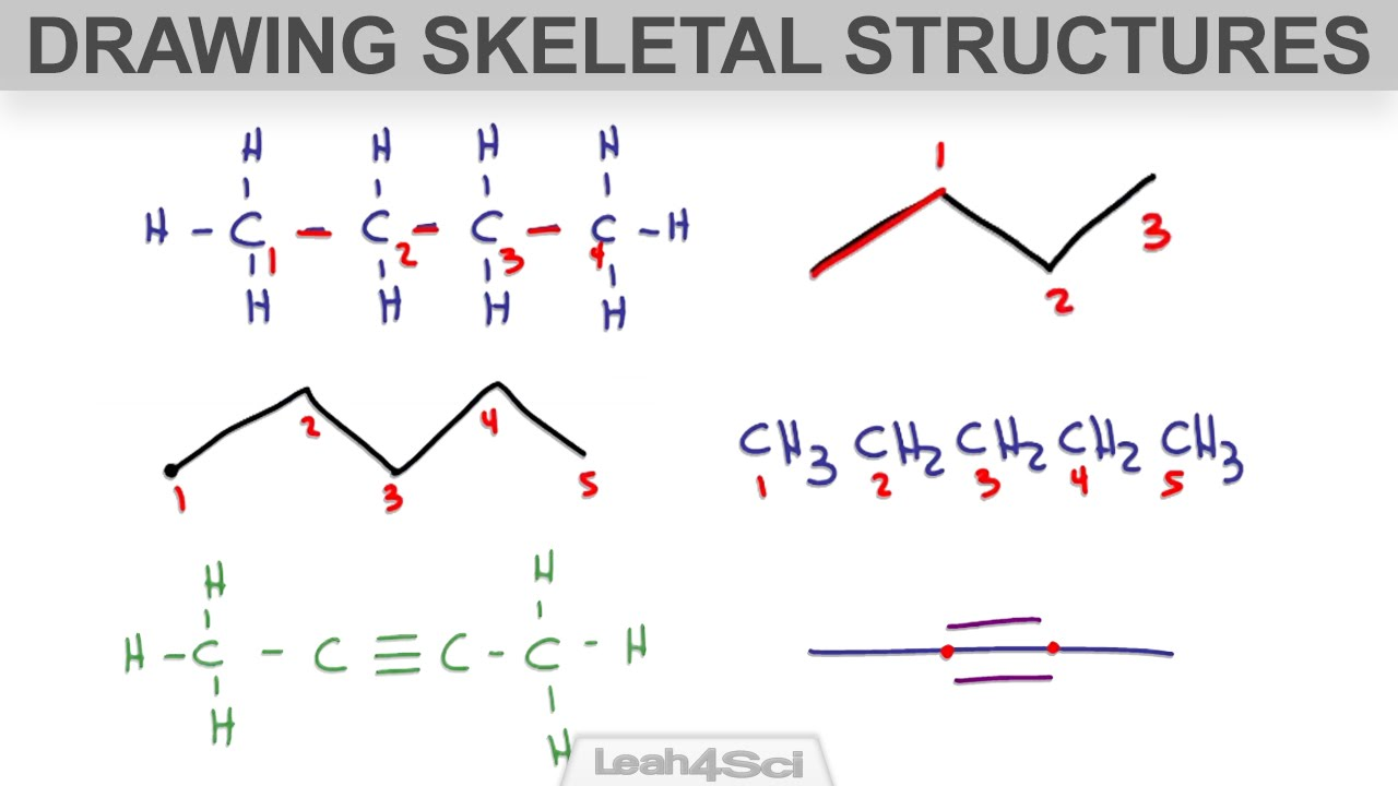how to draw skeletal structure or bond line notation for organic molecules youtube [ 1280 x 720 Pixel ]