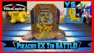 Pokemon Cards - Pikachu EX Battle Heart Tin Opening Battle vs The Pokemon Evolutionaries