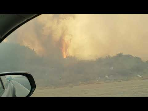 Passing through Thomas fire southbound on the 101 freeway