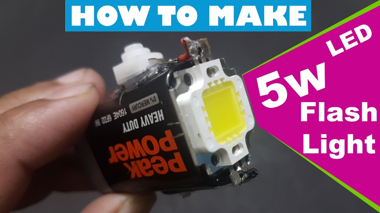 How To Make 5w powerful Led Smd flash light at home 5 watt ...
