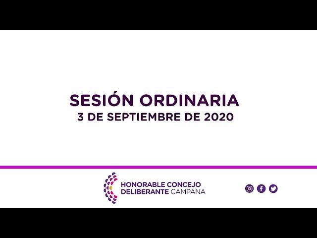 Sesión Ordinaria, 3 de Septiembre de 2020.