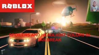 SPOILERS AND HEADLIGHT COLORS! | Roblox Jailbreak