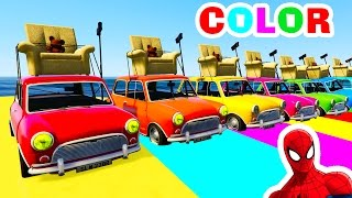 Funny COLOR CARS for Kids in Spiderman Cartoon Videos with Nursery Rhymes Songs for Children