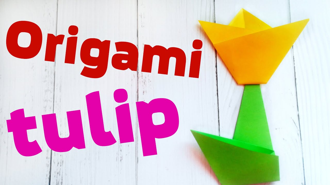 Easy 3d Origami Tulip Flower Scheme For Kids Beginners Step By Video Tutorial