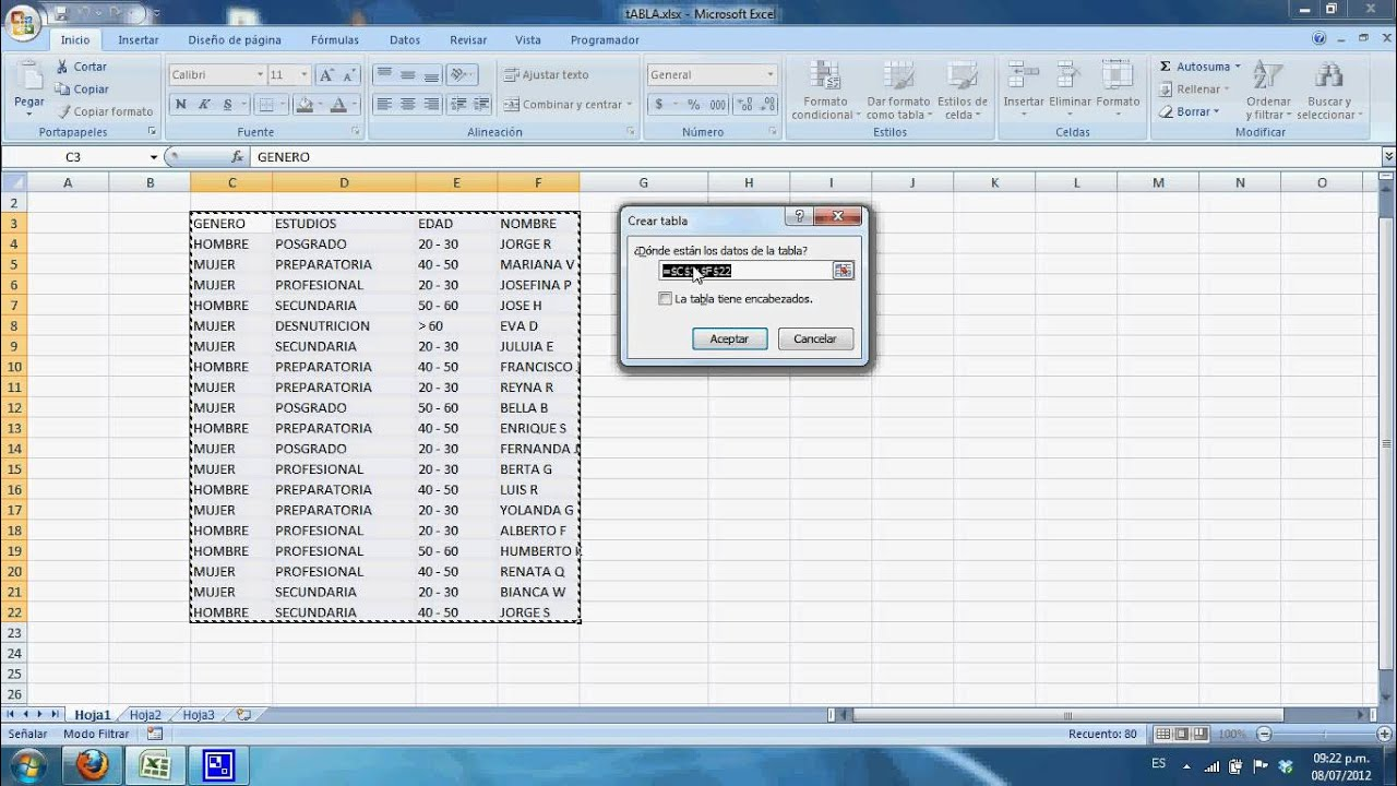 Como Crear Una Tabla En Excel 2007 Youtube