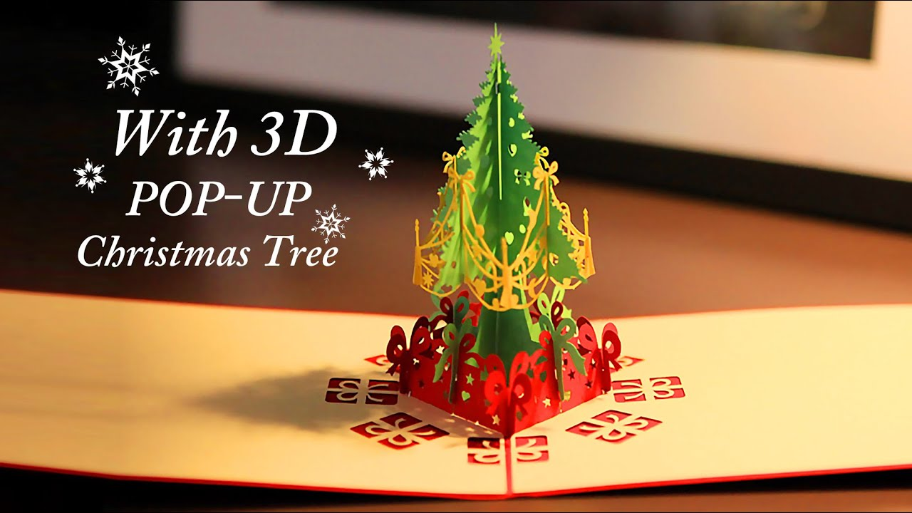 Christmas Greeting Card With 3d Pop Up Christmas Tree Youtube