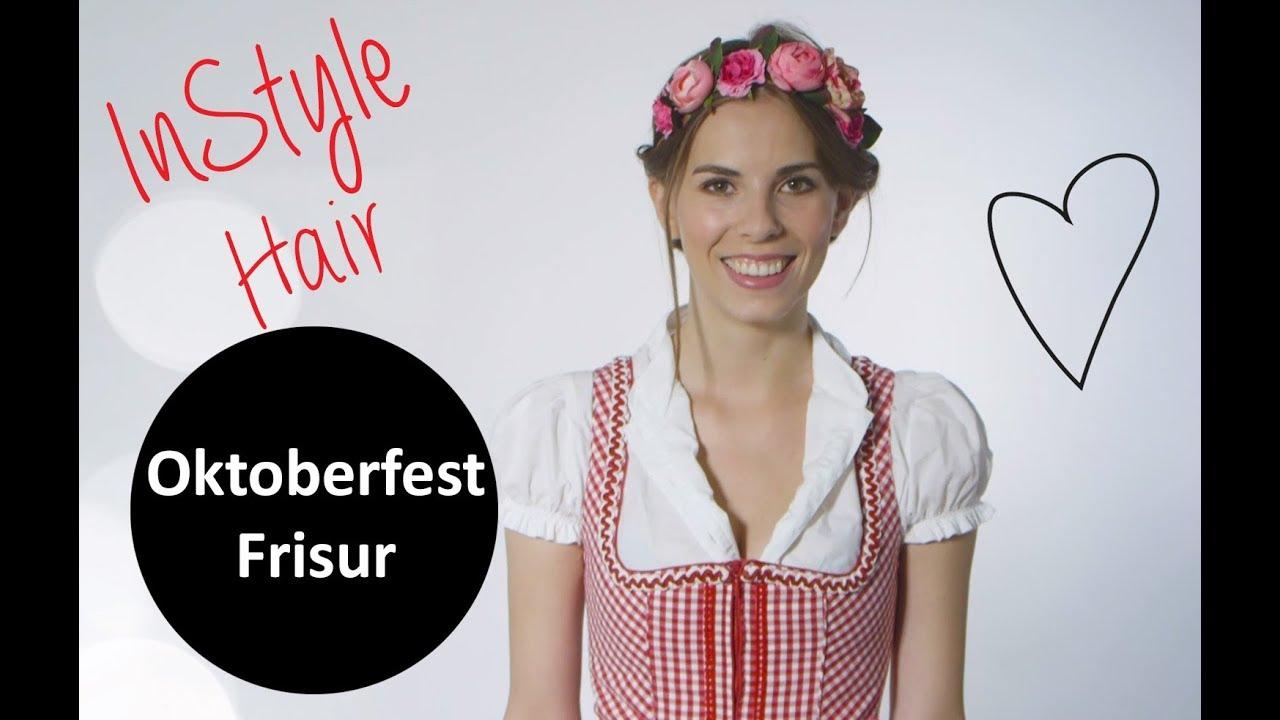 Gedrehte Oktoberfest Frisur Mit Blumenkranz Für Anfänger Youtube