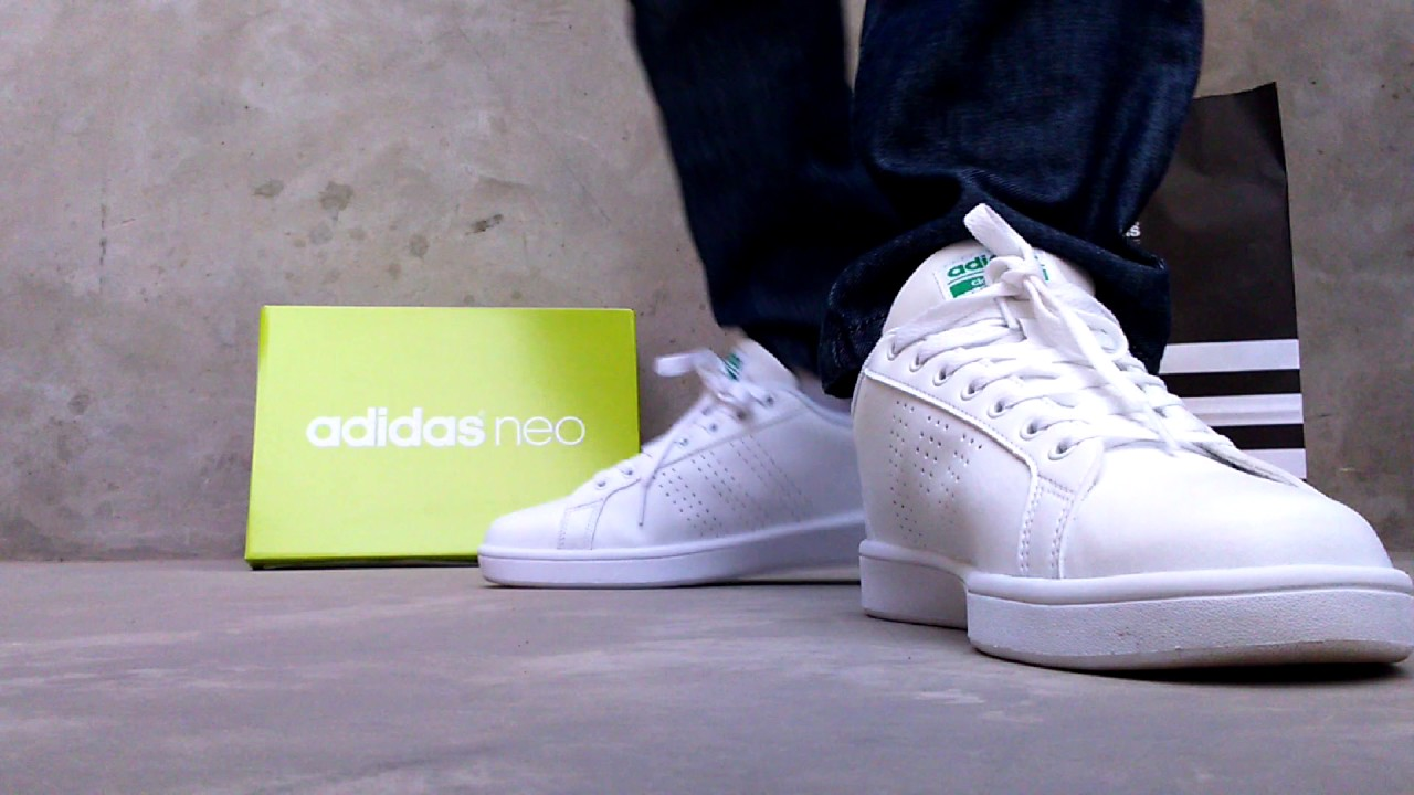 Adidas Cloudfoam Advantage Clean White green - YouTube 2efd2ff0af5a0