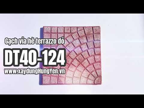 Gạch Lát Sân Vườn Terrazzo Rẻ Quạt Màu đỏ DT40-124   Gạch Lát Sân Vườn, Gạch Lát Vỉa Hè Hưng Yên