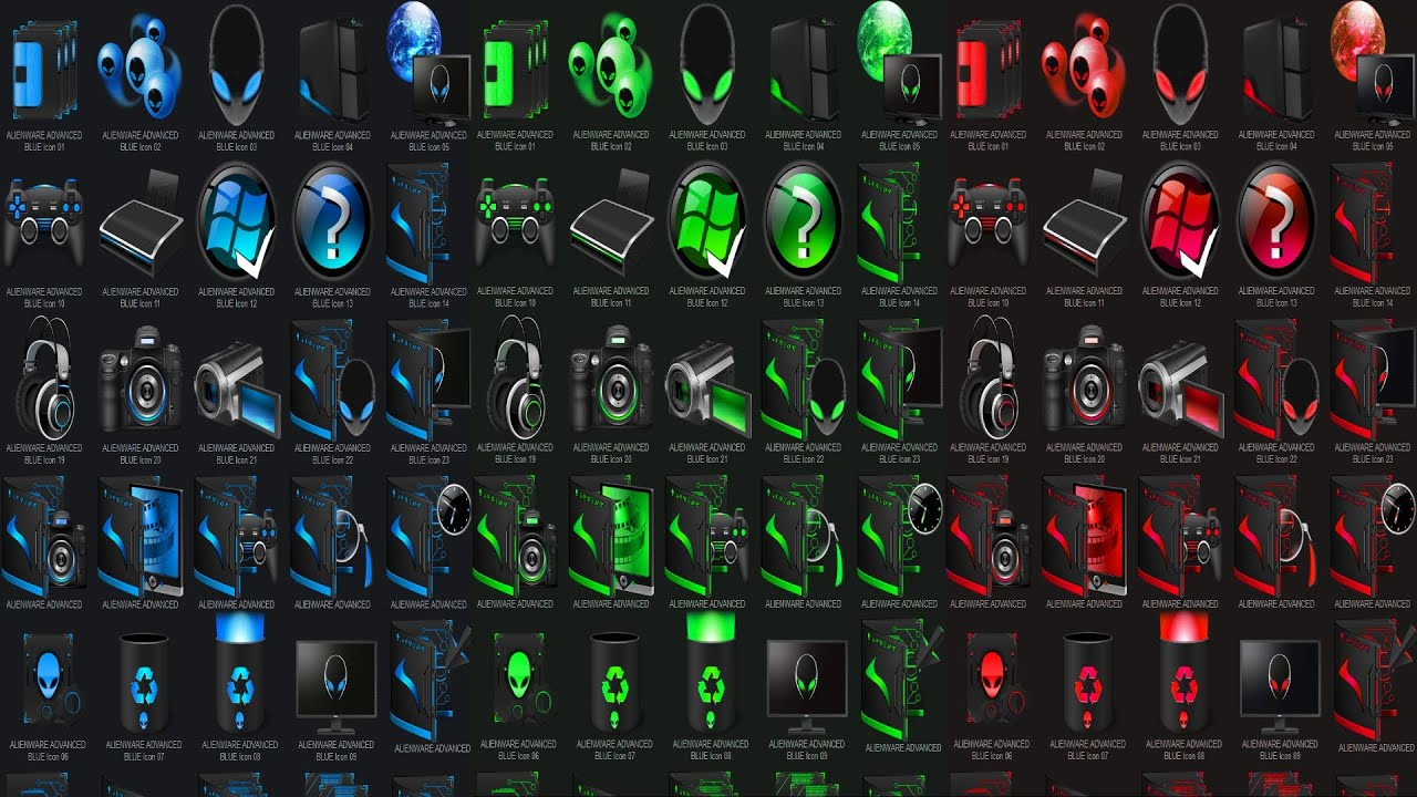 3d Wallpaper For Desktop Icon Alienware Advanced Iconpackager ★☣ 【blue★red★ Green