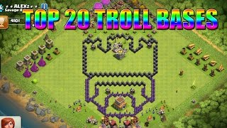 Top 20 Funny/Troll CoC - Clash Of Clans Comedy/Funny Base Design Compilation!