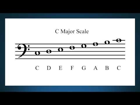 C major scale in the bass clef by letter name