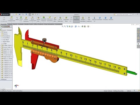 Solidworks Tutorial | Design and Assembly of Vernier Caliper in Solidworks