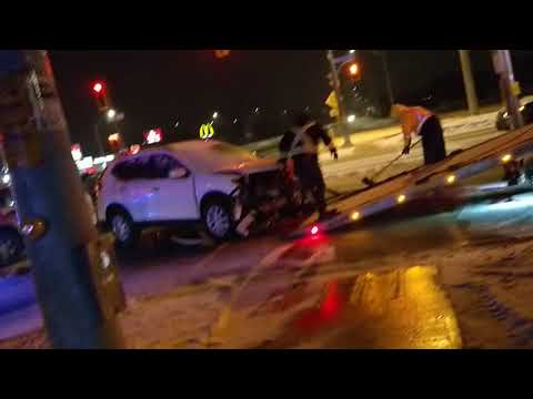 Road accident in Kitchener (Car Shattered)