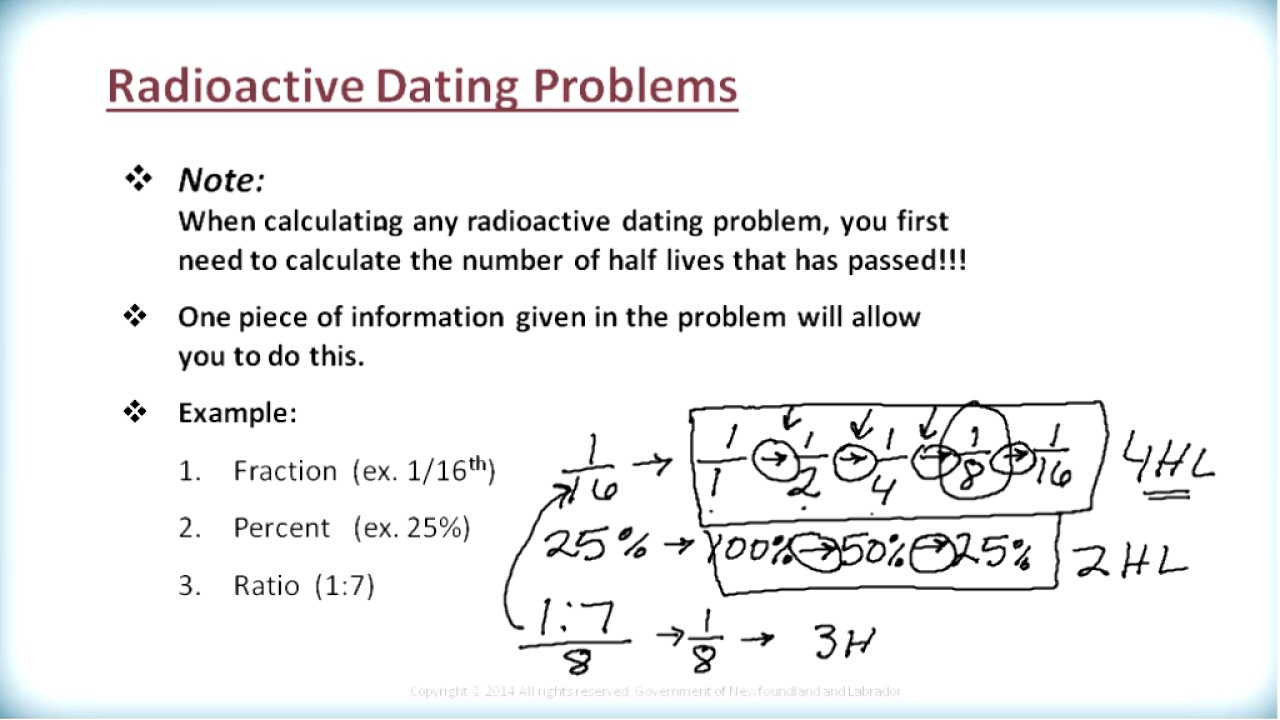 Radiometric dating equation for work 3