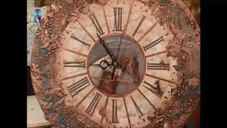 Декупаж часов объемным декором, имитируя металлическую поверхность. Мастер класс. Наташа Фохтина