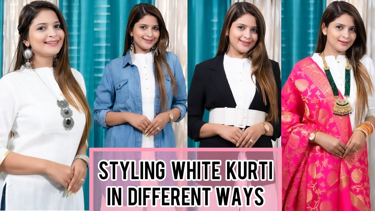 Styling White Kurti In Different Ways || Look Stylish In Kurti || Be That Diva