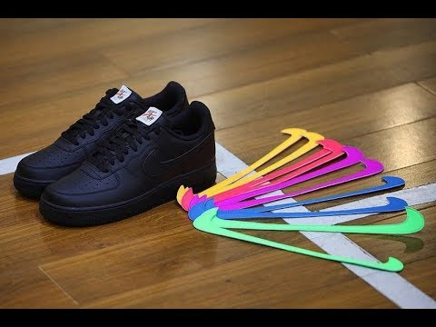 fea07f407f9 Nike Air Force 1 Swoosh Pack Black Colorway ALL STAR Unboxing