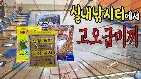 실내낚시터 낚시카페 에서 밖에서 쓰는 4가지 떡밥을 사용해 봤습니다