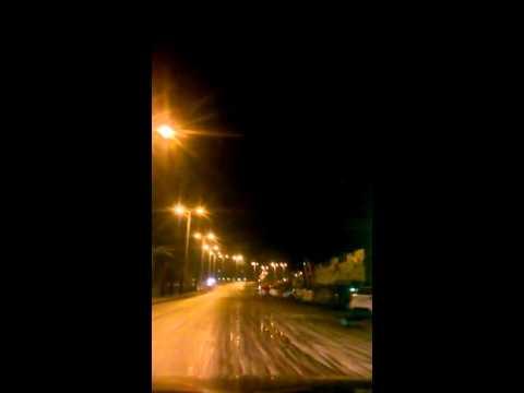Driving in Gaza city midnight