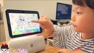 NUGU nemo 누구네모가 라임이 집에 생겼어요 무엇이든 물어보세요~ AI 퀴즈왕 인공지능 스피커 공부 놀이 |뽀로로와 핑크퐁 상어가족| LimeTube toy review