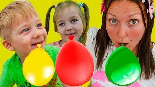Pretend play with Balloons Kids Alice and Dima