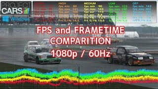 Project CARS | best FPS and FRAMETIME low lag settings | PC graphics comparision |