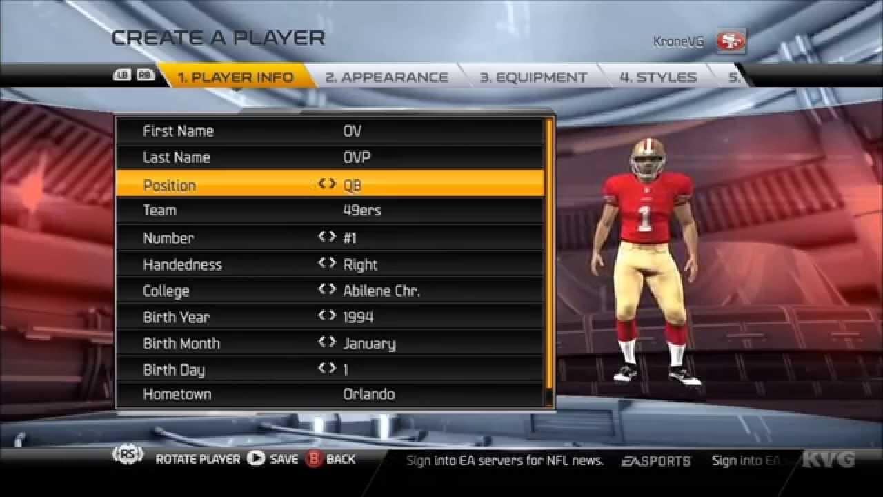 9293b8e1df6 Madden NFL 15 - Customize | Create Player [HD] - YouTube