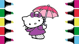HELLO KITTY Coloring Pages  | Youtube Videos for Children | Art Colors For Kids