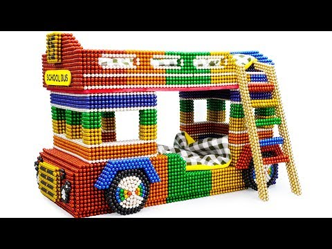 DIY - Build Amazing School Bus Bunk Beds With Magnetic Balls (Satisfying) - Magnet Balls