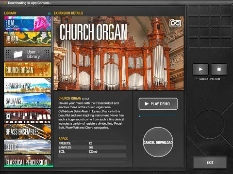 BEATHAWK by UVI The CHURCH ORGAN Sound Pack - Demo for the iPad