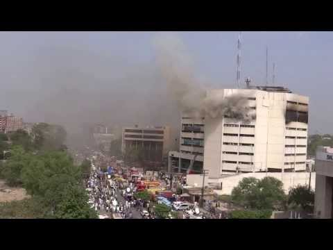 Fire in LDA Plaza and Rescued by Helicopter a handicap man Egerton Road Lahore 9 May 2013 Pakistan