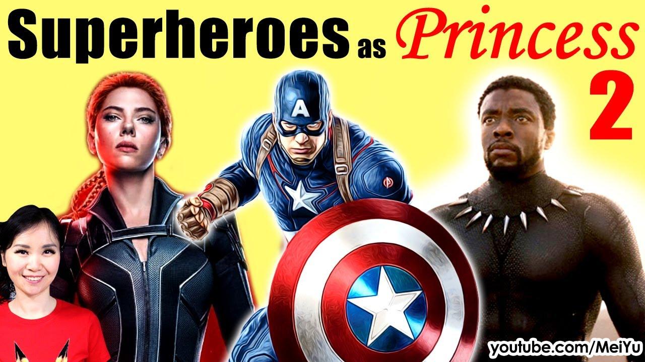 Art Challenge: Draw Superheroes as Princesses   Black Widow, Black Panther, Captain America   Mei Yu