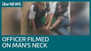 Officer suspended after 'disturbing' knee on neck video | ITV News