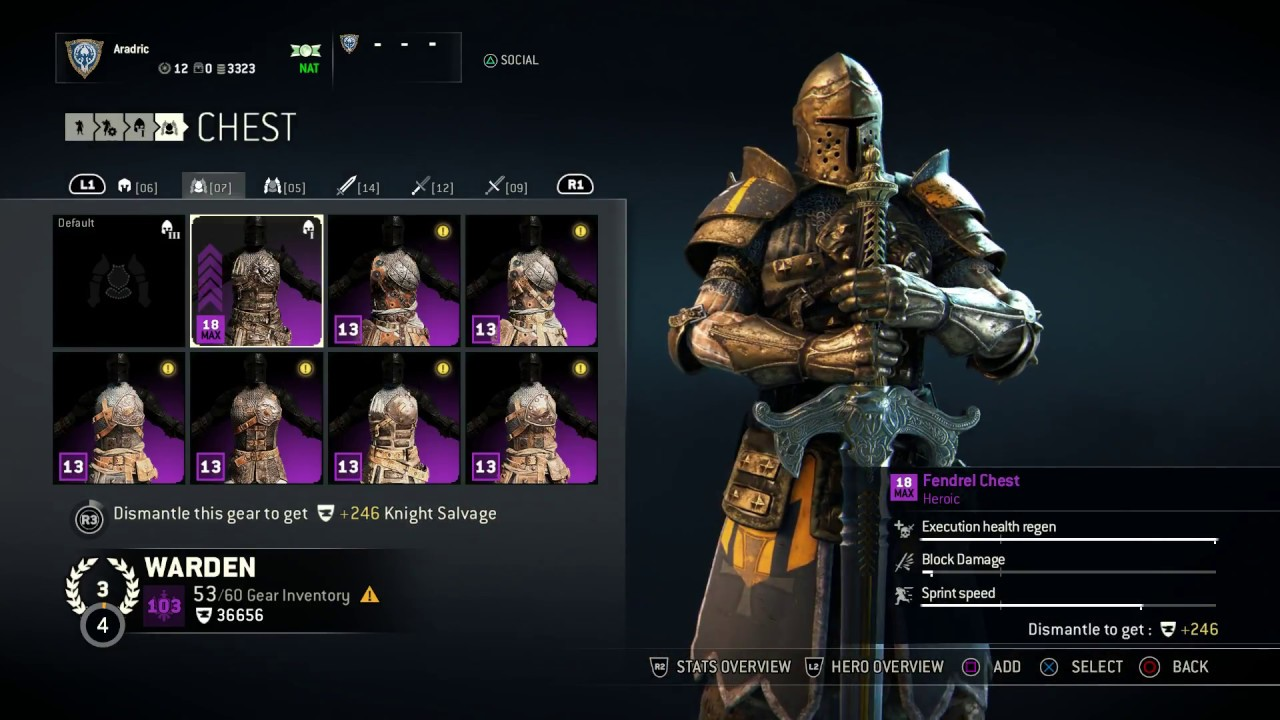 for honor warden heroic armor set fendrel helm chest and