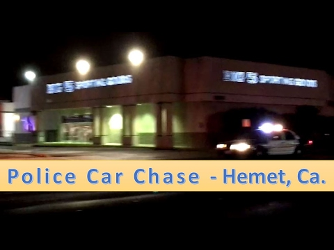 Police Chase on Florida ave. - Hemet, California   Feb. 19, 2017  silver Honda vs.  5 police cars