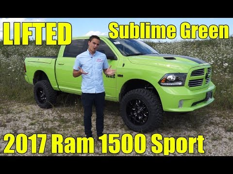 "Lifted Dodge Ram >> LIFTED 2017 Ram 1500 Sport! Sublime Green! 6"" BDS Lift ..."