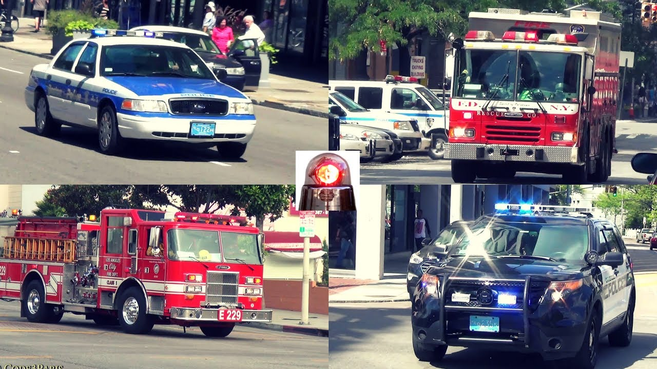 Police Cars, Fire Trucks, Ambulances Responding Best of Compilation 1: Air Horns, Sirens, Lights