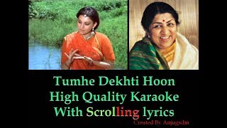 Tumhe Dekhti Hoon  || Tumhare Liye || Karaoke with scrolling lyrics (High Quality)
