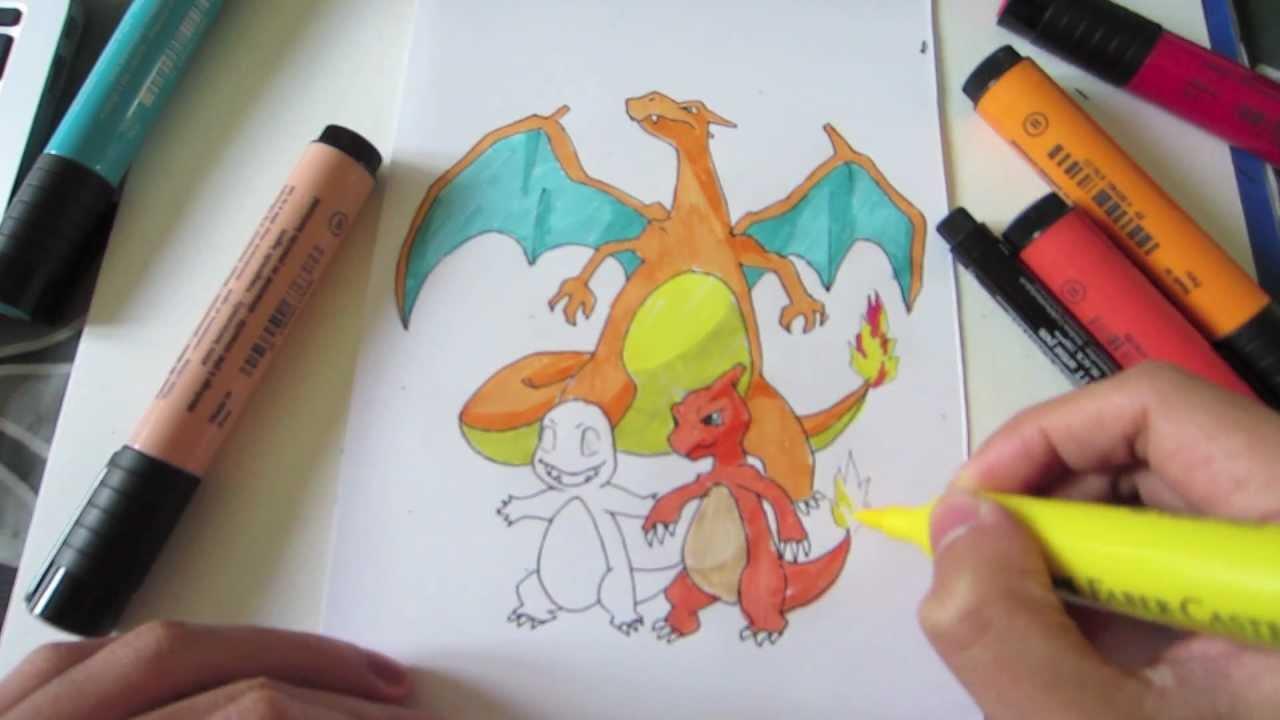 how to draw charmander charmeleon and charizard