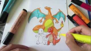 How to Draw Pokemon: No.4 Charmander, No.5 Charmeleon, No.6 Charizard